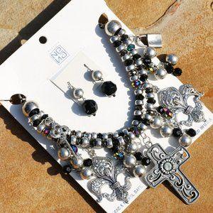 NEW! Chunky Boho Cross Necklace Christian Bead Set